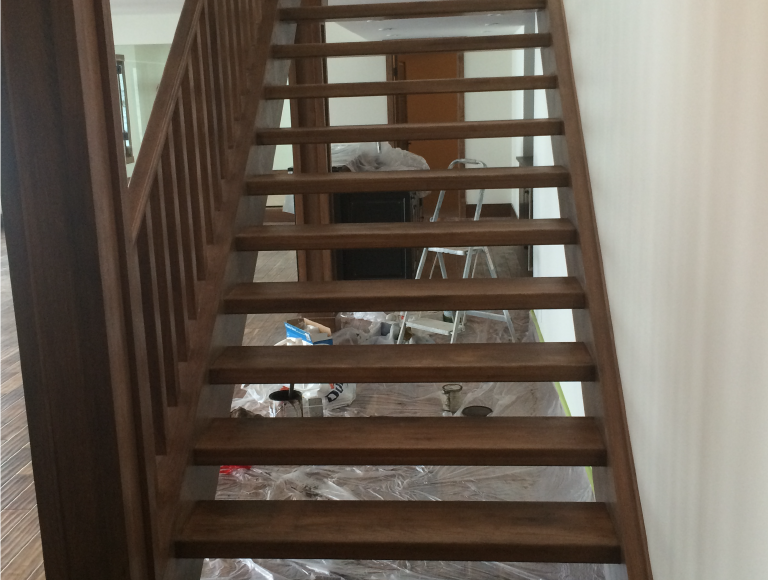 Stained Interior Wood Stairs